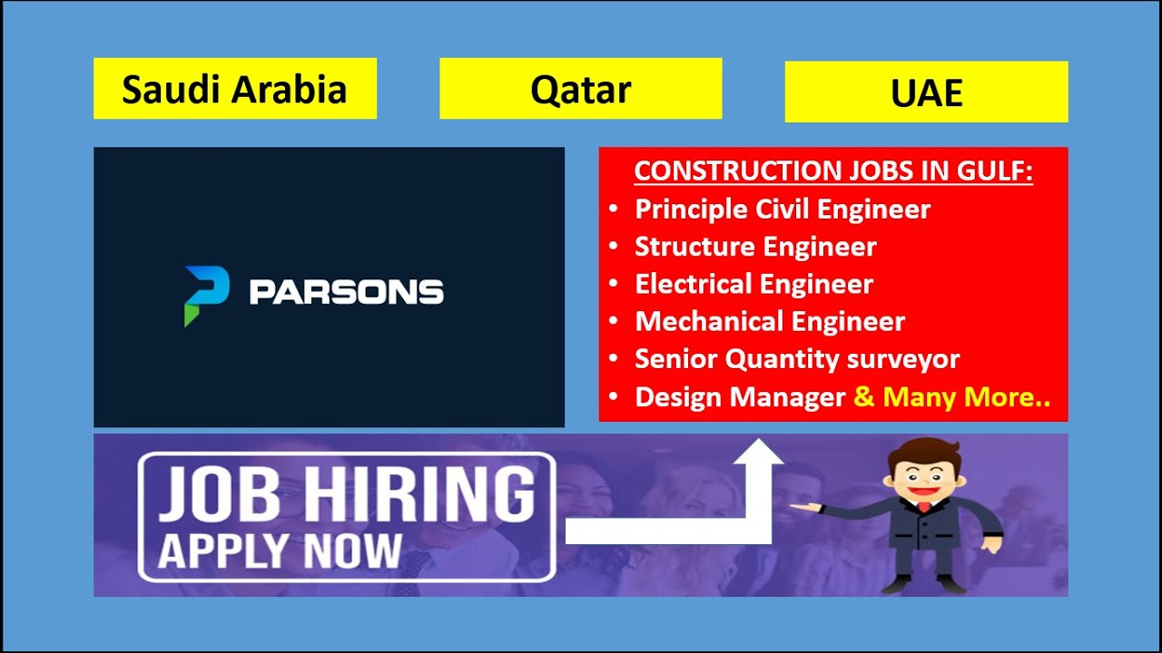 Construction Jobs In Gulf With Parsons Jobs In Saudi Jobs In Dubai Jobs In Qatar Engineer Job Youtube