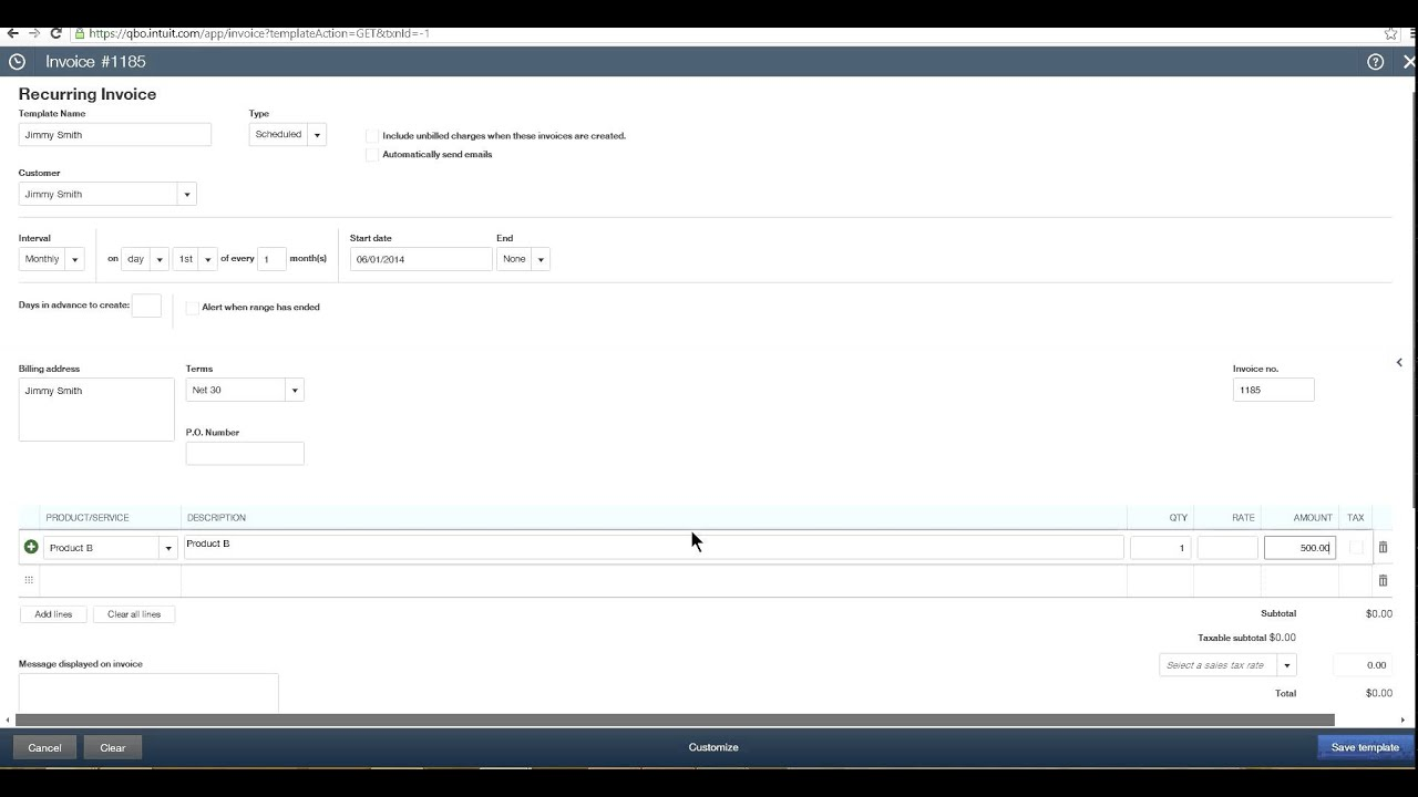 QuickBooks Online How To Set Up Memorized Transactions Or - Quickbooks recurring invoice