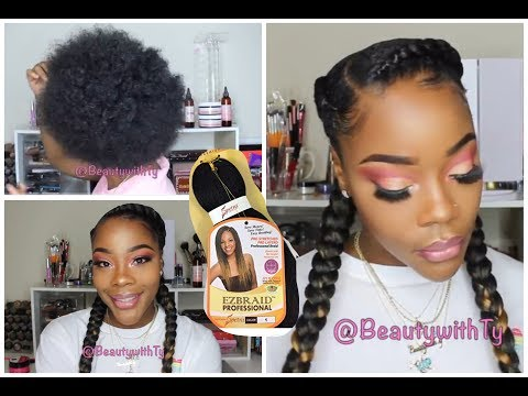 HOW TO: FEED-IN BRAIDS  DO IT YOURSELF  EASY  2 BRAIDS WITH WEAVE TUTORIAL