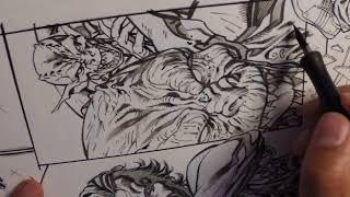 Marzan Jr inking Goblin Head