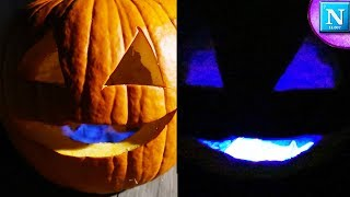 Blue Glowing Pumpkin Science Trick