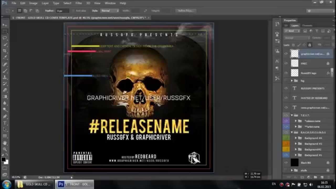 Whats inside Gold Skull PSD CD Mixtape Cover Template YouTube – Psd Album Cover Template