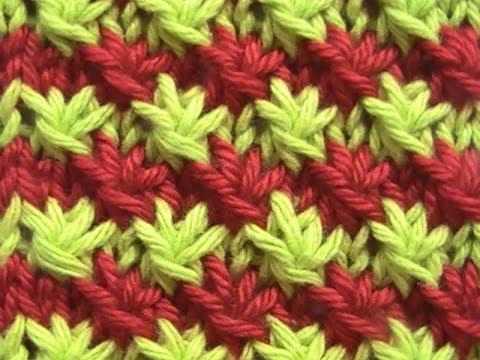 Como tejer punto fantas a de flores 2 colores 2 agujas - Puntos de dos colores a dos agujas ...
