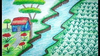 How to draw scenery of paddy filed | scenery for beginners | learn step by step Drawings