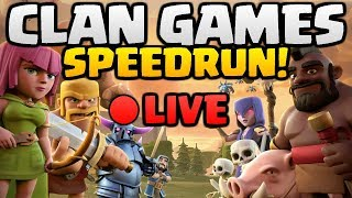 "CLAN GAMES SPEEDRUN! How Fast Can We Beat Clan Games in ""Clash of Clans"" LIVE [2018]"