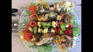 141. Шашлычки из рыбы с овощами в электрошашлычнице