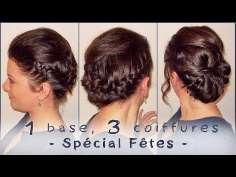✿ 1 base, 3 coiffures pour les fêtes , cheveux courts/mi,longs ✿