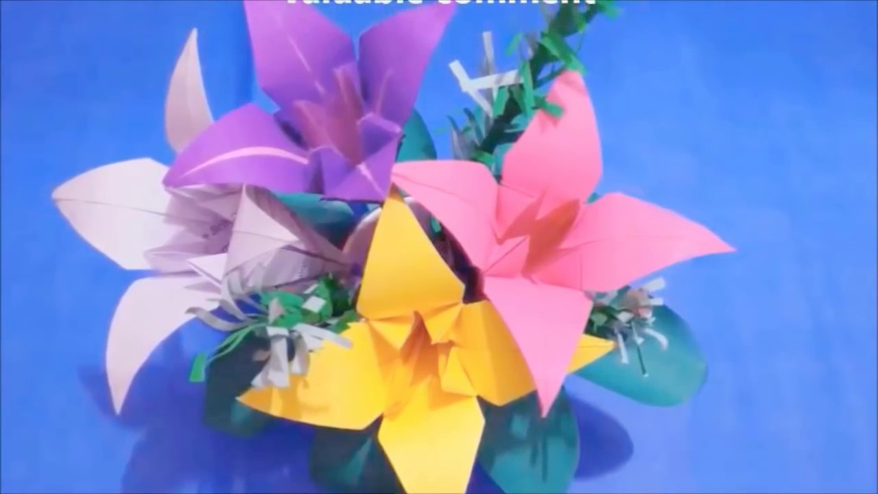 How to make an origami paper flower bouquet for home decoration how to make an origami paper flower bouquet for home decoration lilly flower tabletop izmirmasajfo Gallery