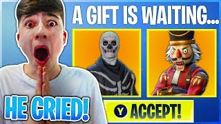 I GIFTED HIM A SKIN AND HE CRIED in Fortnite Battle Royale...