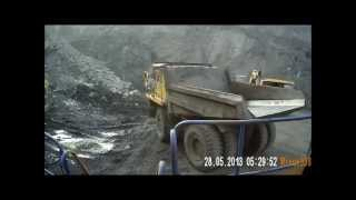 работа на белазе. Разрез, открытые горные работы  work on large trucks in Russia