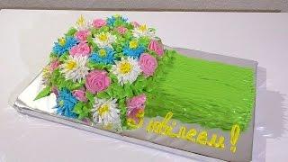 Торт букет цветов МК  Как сделать кремовый  торт букет цветов  Cake bouquet MK