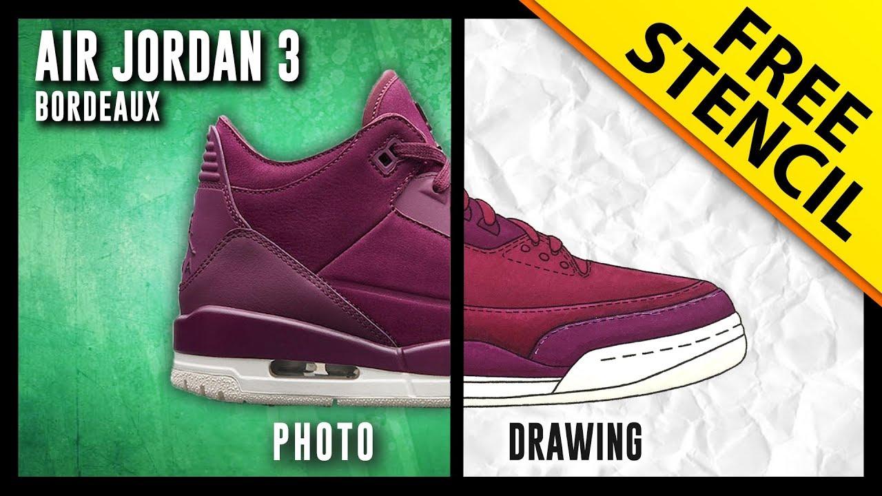 0207aa9039d Air Jordan 3 Bordeaux - Sneaker Drawing w/ FREE Stencil - YouTube