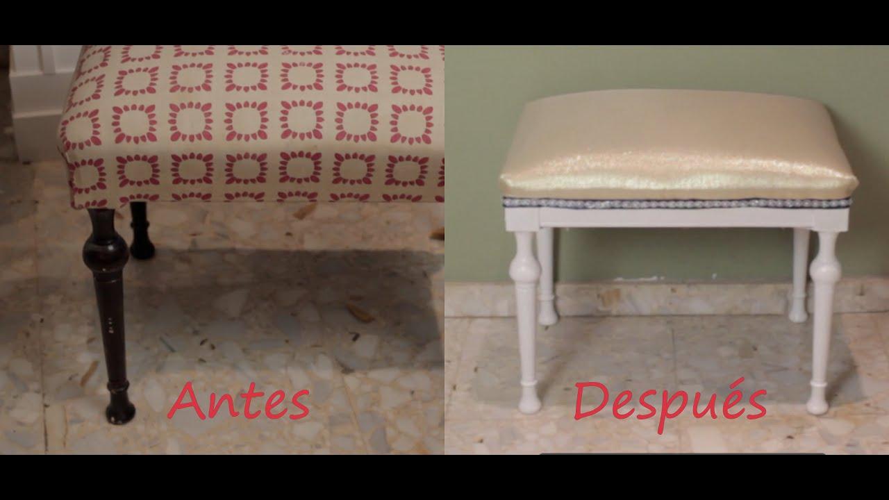 Tapizar pintar una silla renovar una banqueta de vieja - Tapizar banqueta ...