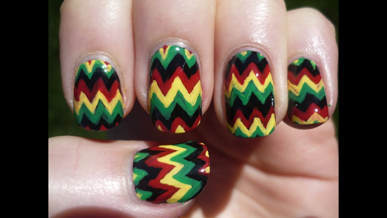Jamaican Rasta Chevron Nail Art Tutorial - YouTube