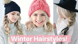 Easy Hairstyles for Winter, Hats, and Scarves! - Hair Tutorial