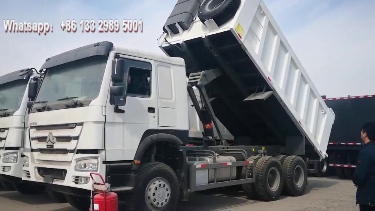 Download 10 wheel Howo heavy duty 20 ton front lift dump tipper truck Lifting operation video