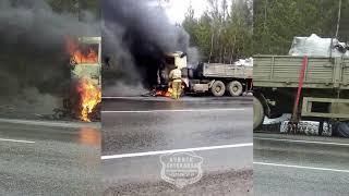 Горит МАЗ на трассе Р-255 Красноярск - Ачинск.