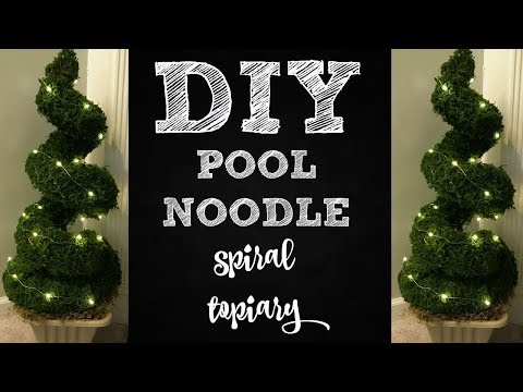 POOL NOODLE SPIRAL TOPIARY DOLLAR TREE DIY | POOL NOODLE HACK