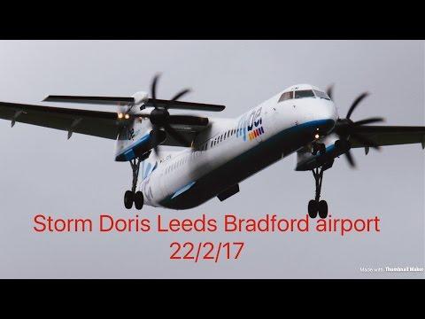Leeds Bradford airport Storm Doris takeoff & landing 22/2/17