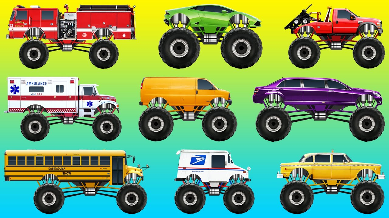 Monster Street Vehicles Names And Sounds For Children Cars And