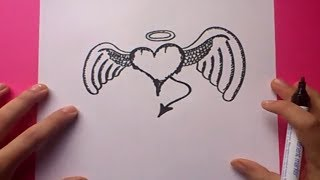 Como dibujar un corazon con alas paso a paso 2 | How to draw a winged heart 2