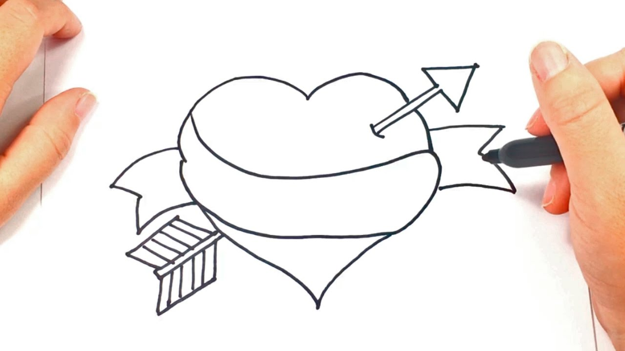 C mo dibujar un coraz n con flecha paso a paso dibujo for Comedor facil de dibujar