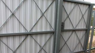 Ворота и калитка из профнастила, забор на даче(Ворота и калитка из профнастила, забор на даче. Как сделать забор из профлиста своими руками. Профлист цвета..., 2015-11-16T16:48:25.000Z)