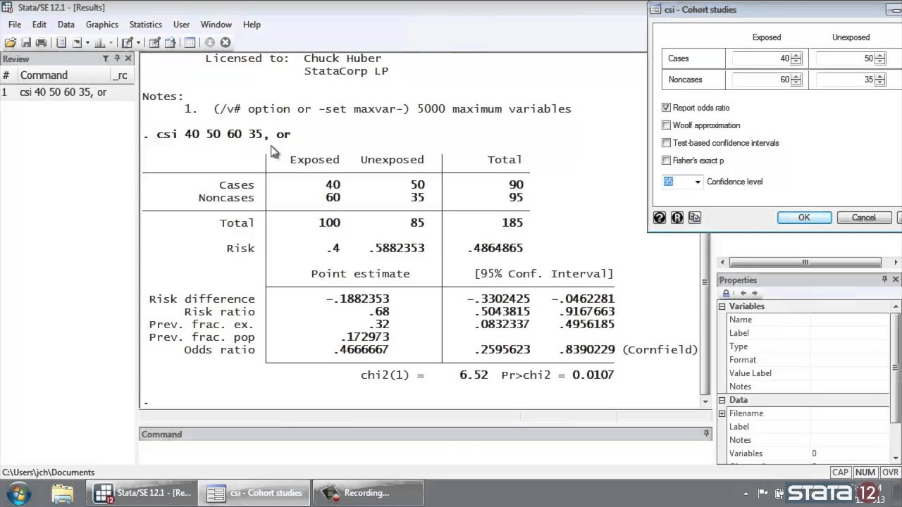 Stata Tutorial Risk Ratios Calculator Youtube