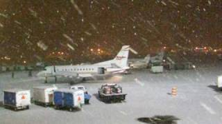 Snow storm at Anchorage International Airport