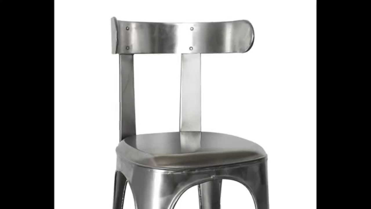 tabouret de bar vintage industriel acier leon youtube. Black Bedroom Furniture Sets. Home Design Ideas