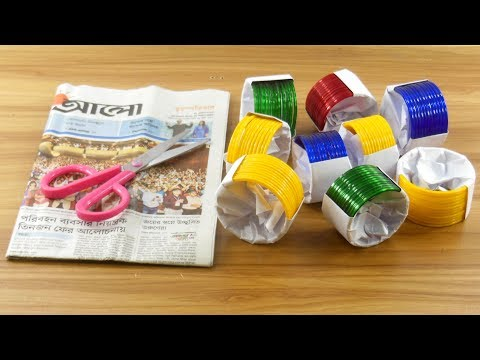 Best craft idea with waste Newspaper & Old bangles | diy projects For Home deco