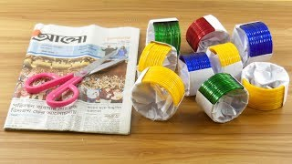 Best craft idea with waste Newspaper & Old bangles   diy projects For Home deco