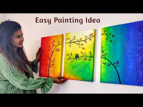 Easy Canvas Painting For Bedroom Decoration 3 Ideas Diy Home Decor Youtube