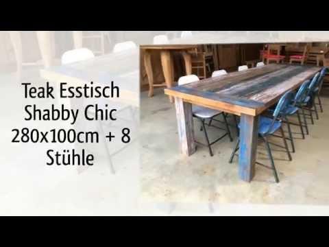 Teak Tisch Shabby Chic Vintage