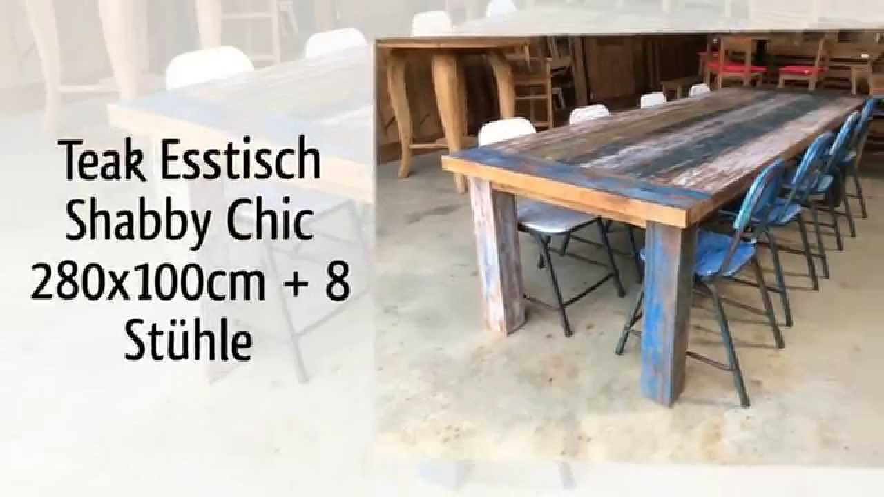teak tisch shabby chic vintage youtube. Black Bedroom Furniture Sets. Home Design Ideas