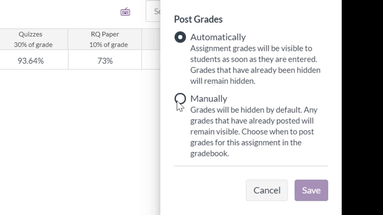 Canvas Grade Posting Policy