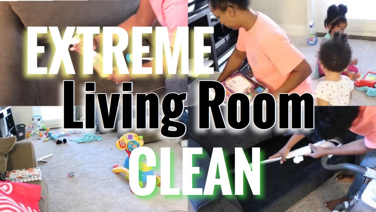 CLEAN WITH ME| EXTREME SMALL APARTMENT LIVING ROOM CLEAN| Working Mom clean before work!