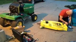John Deere 170 Installing Mower Deck Parts - Time Lapse
