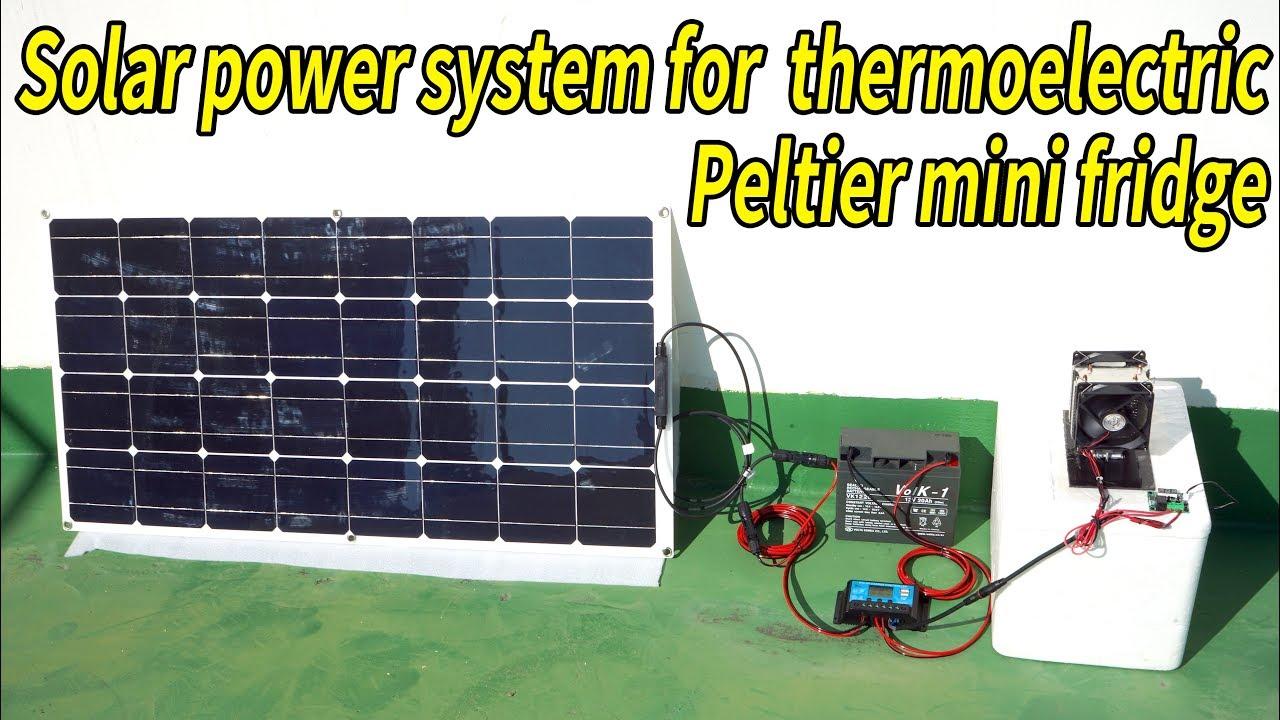 Solar power system for thermoelectric peltier mini fridge