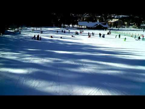 Frosty goes sledding in Carter Park, Breckenridge