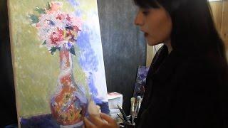 Цветы Ренуара, полный видеоурок, копии импрессионистов, tutorial, oil paiting