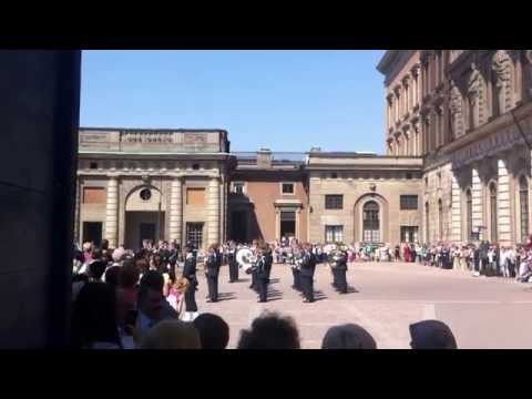 Stockholm Royal Palace Guard orchestra plays modern beat