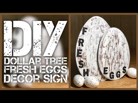 DIY Dollar Tree Fresh Eggs Farmhouse Sign - DIY Crackle Paint - Egg Wall Or Counter Kitchen Decor