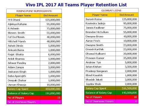 Vivo IPL 2017 All Teams Player Retention List