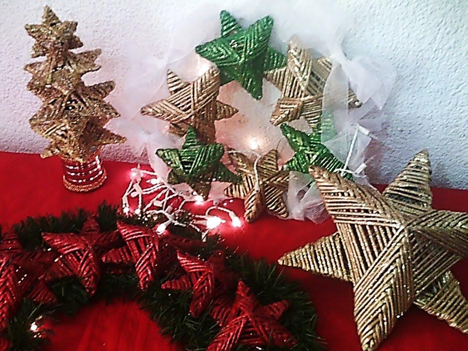 Tres adornos navide os con estrellas de papel youtube - Adornos navidad reciclados para ninos ...