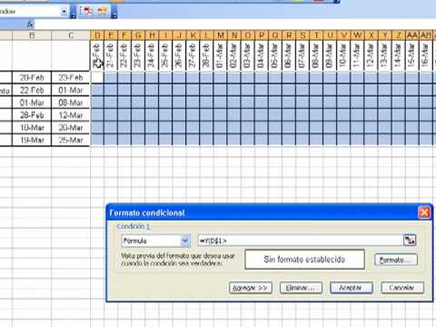 Diagrama de Gantt en Excel 2003 - YouTube - diagrama de gantt en excel