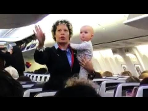 Pat McMahon - Flight Attendant Calms Crying Baby In Adorable Video - The Good Stuff 4-12