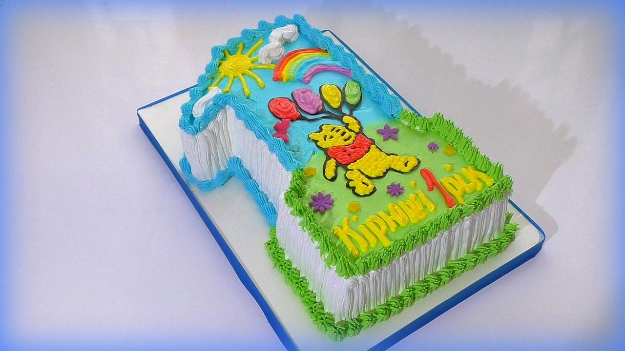Торт цифра 1 на годик для ребенка Как сделать торт цифру ...