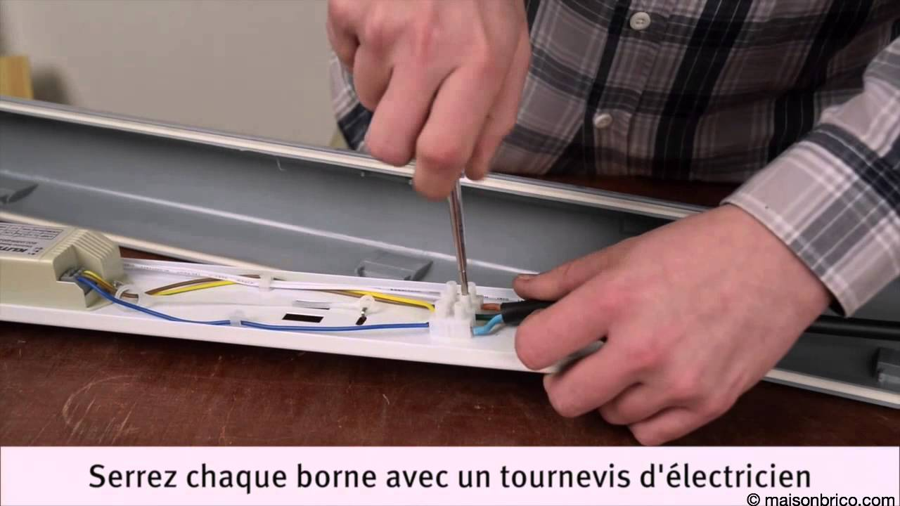 Installation d\'un néon d\'atelier - YouTube