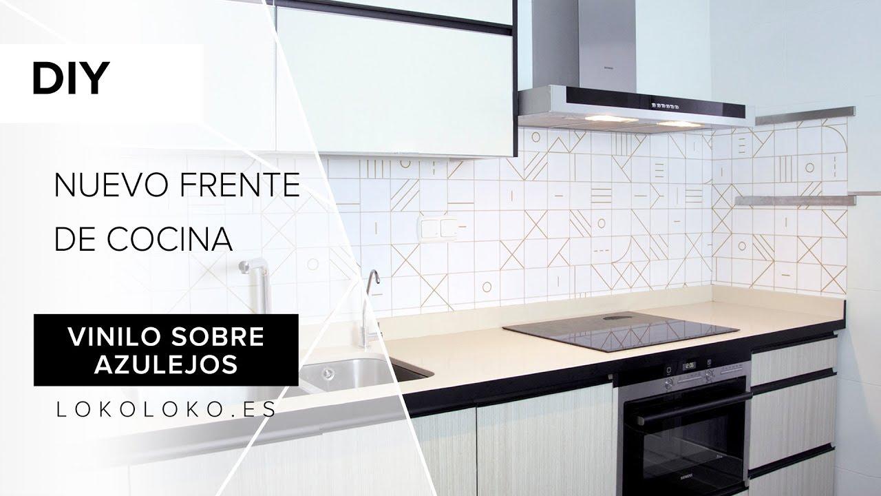 Reforma sin obras de cocina frente con vinilo lavable - Cubrir azulejos sin obra ...